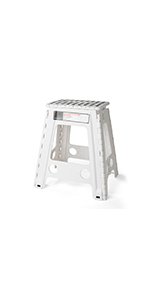 Folding Step Stool, Super Strong Plastic 16 inch Stepping Stool for Kids and Adults with Handles