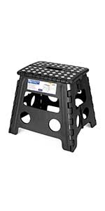 Folding Step Stool, Super Strong Plastic 13 inch Stepping Stool for Kids and Adults with Handles