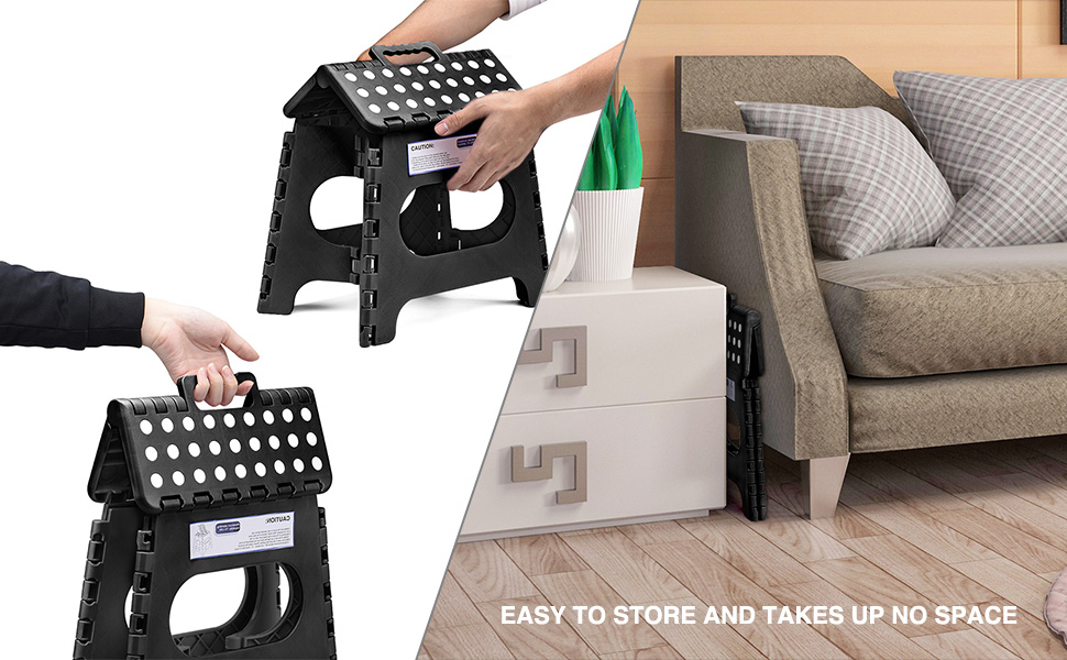 Folds flat for easy space-saving storage, you can store the folding step stool at anyplace.