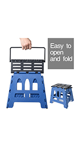 Folding Step Stool, Super Strong Plastic 15 inch Stepping Stool for Kids and Adults with Handles