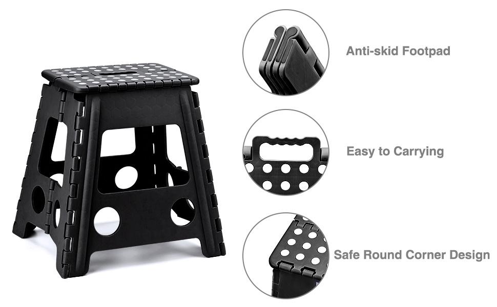 Amazon.com: Acko - Taburete plegable de plástico de 16.0 in ...