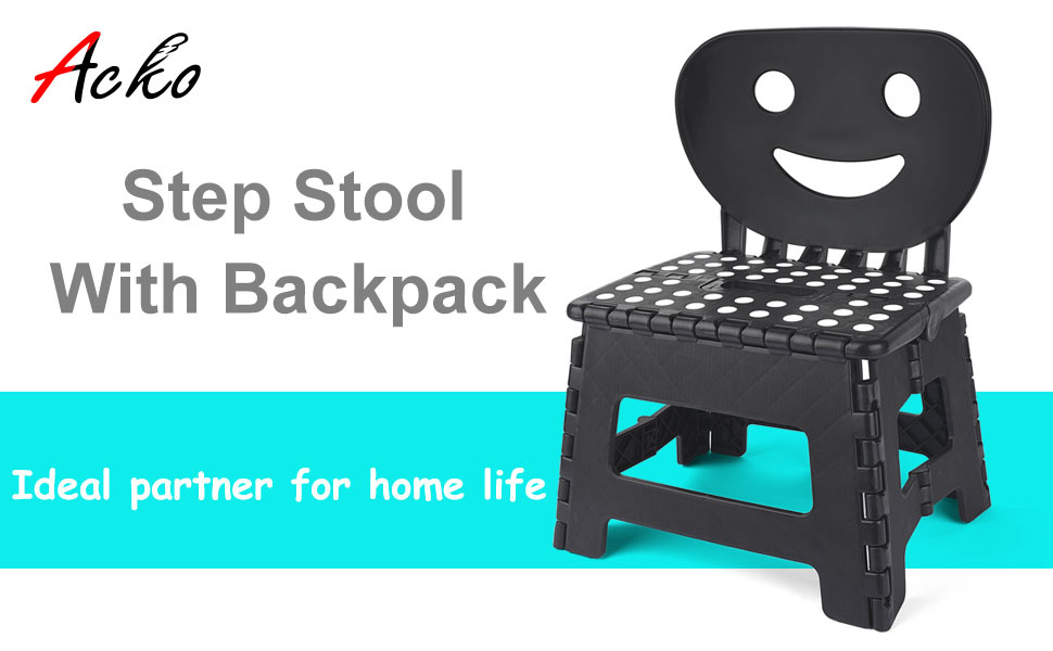 Acko Folding Step Stool with Back Support for Children,9 inch Perfect Height for Toilet Training