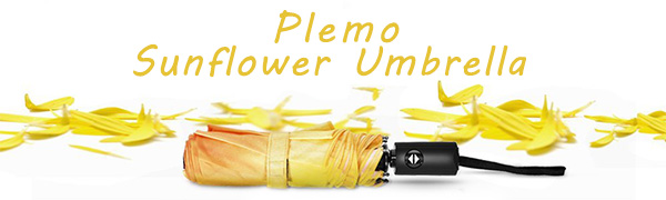 Plemo yellow sunflower Automatic Windproof Compact Folding Umbrellas for women girls