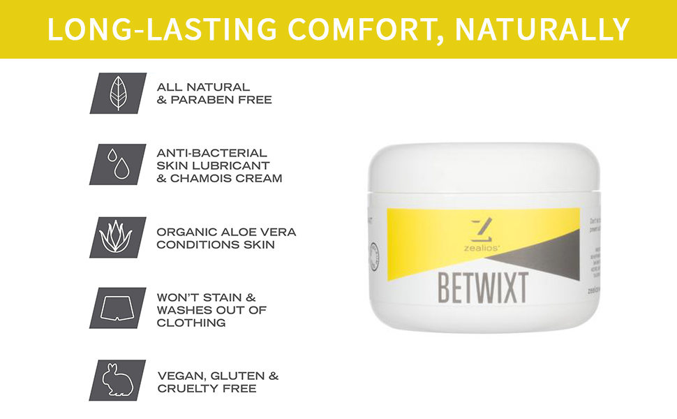 Zealios Betwixt Athletic Skin Lubricant & Chamois Cream (8 oz) –  All-Natural, Organic and Anti-Bacterial For