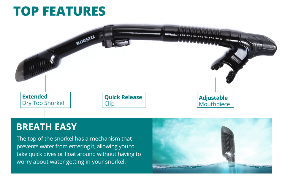 snorkel features an extended dry top, a quick release clip and and adjustable mouth piece