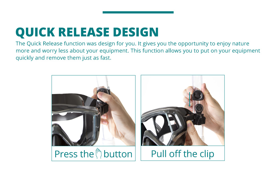 quick release design on snorkel and flipper allows you to remove and add you equipment quickly