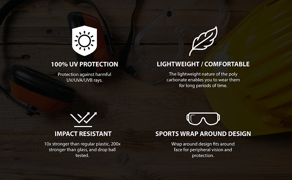 our safety glasses offer 100% uv protection impact resistance with a light weight wrap around design