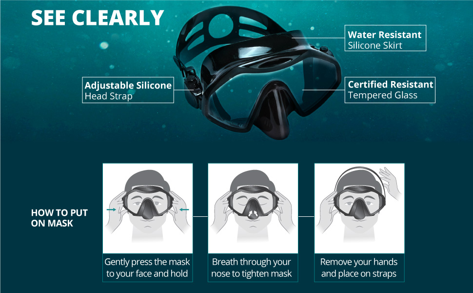 scuba mask has an adjustable strap, tempered glass and is water resistant to prevent water leaks