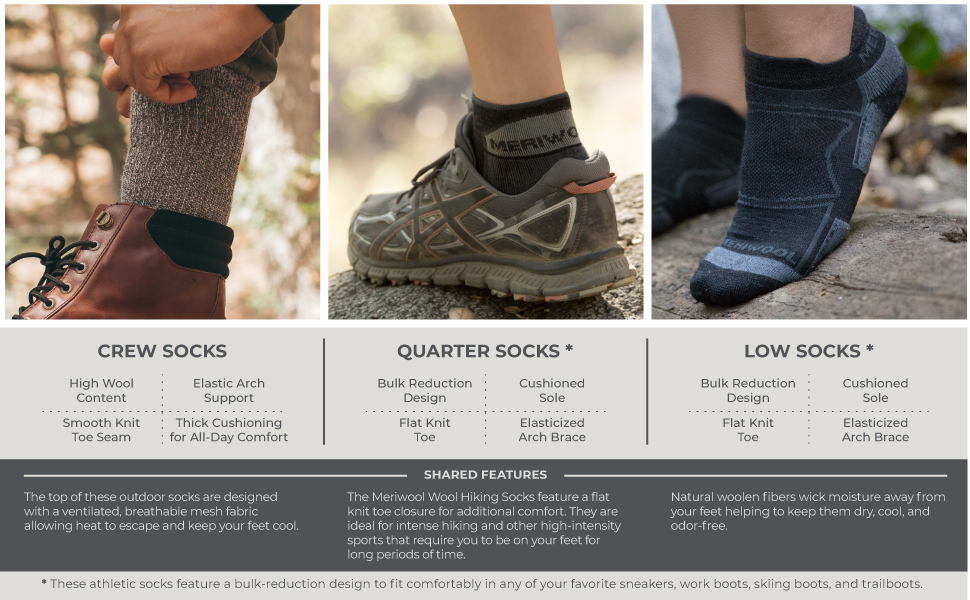 meriwool offers 3 types of socks, crew, quarter and low for all outdoor and sports activities
