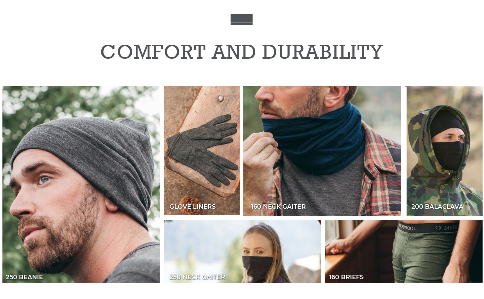 meriwool products come in beanies, neck gaiters, balaclavas, briefs, glove liners, tops and bottoms