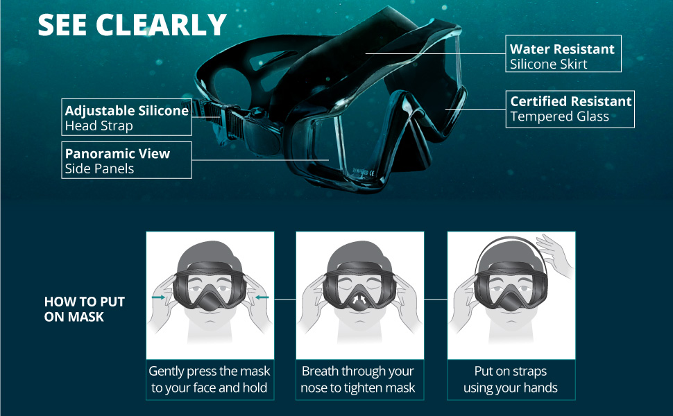 scuba mask has an adjustable strap, tempered glass, water resistant, side panels for panoramic view