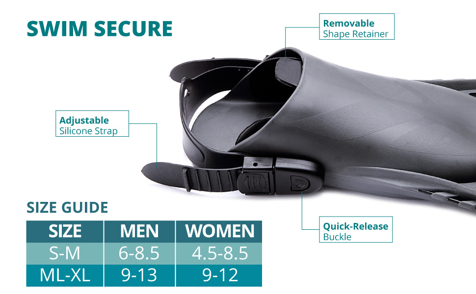 diving flippers have an adjustable strap, quick release buckle and available in SM MED LG XL sizes
