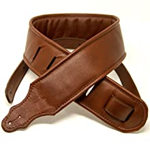 Padded Leather Guitar Strap Brown