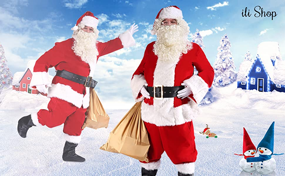 Amazon.com: ilishop de los hombres Deluxe Santa Suit 10pc ...
