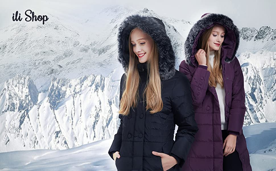 ilishop women winter long down jacket
