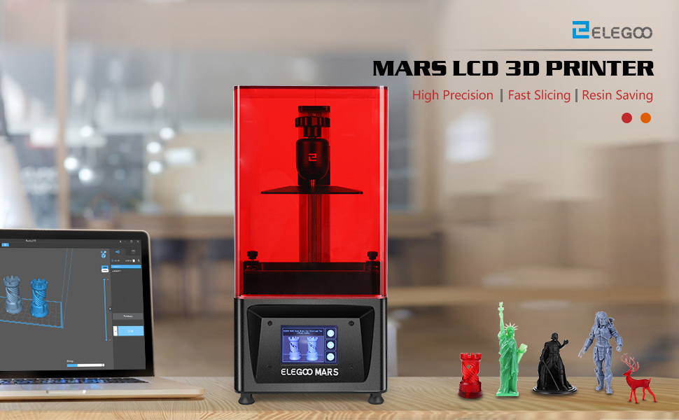 ELEGOO Mars UV Photocuring LCD 3D Printer with 3.5 Smart Touch Color Screen Off-line Print 4.53in(L) x 2.56in(W) x 5.9in(H) Printing Size Black ...