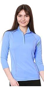 nozone clothing 3 quarter sleeve equestrian sun protective womens polo shirt upf 50+