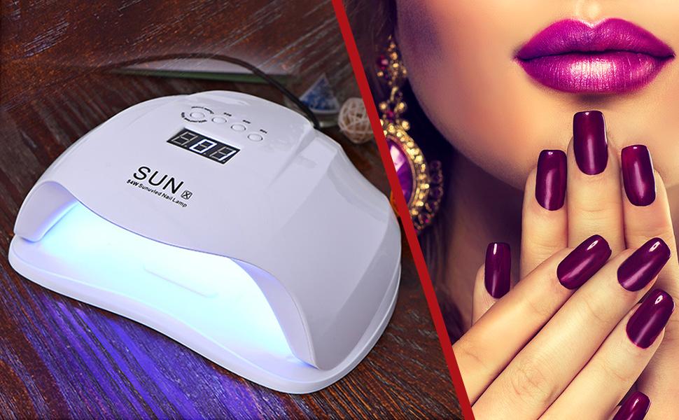 Fatmoon 54W UV Led Nail Lamp Dryer For Gel Nails UV Light Dryer ...