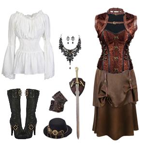 db174f376f0 Charmian Women s Spiral Steel Boned Steampunk Gothic Bustier Corset ...