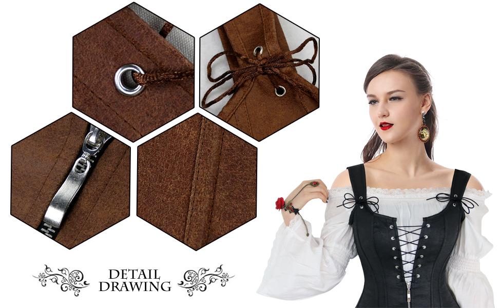 594fe043a2d Charmian Women s Renaissance Lace Up Vintage Boned Bustier Corset ...