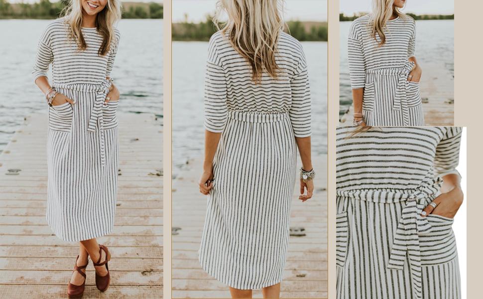 945e74d6113af Hount Women s Striped Long Sleeve Pockets Maxi Dress Empire Waist ...
