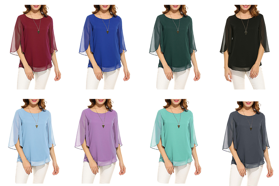 92a43ed5e5d5 Hount Women Casual Loose Pullover Chiffon Blouse 3 4 Sleeve Solid ...
