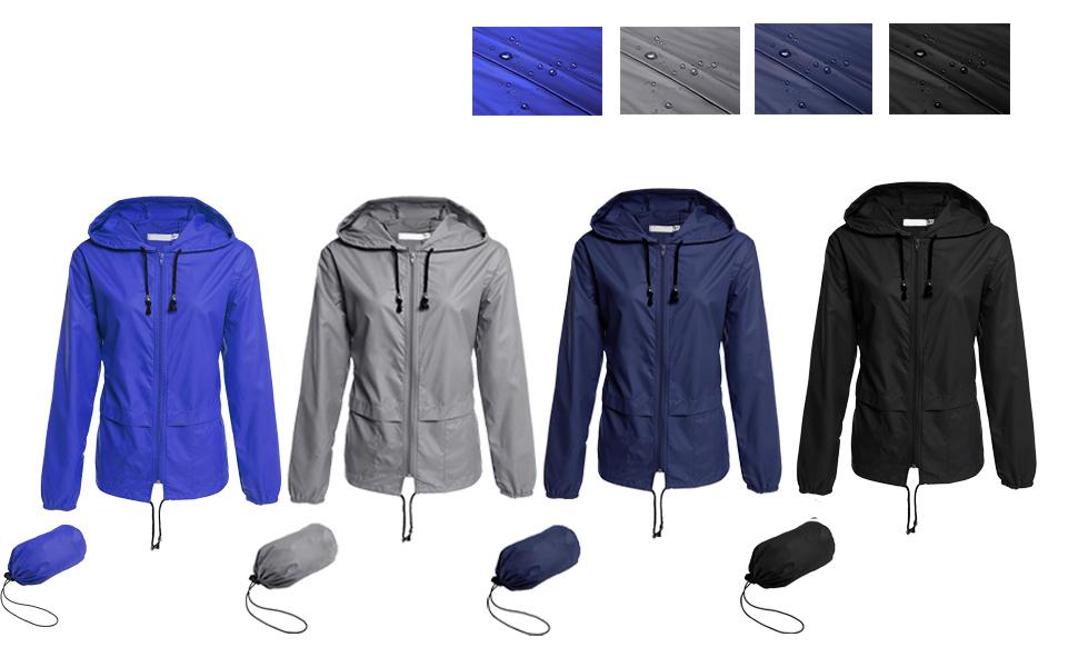 bebb5cdc0 Hount Womens Waterproof Lightweight Packable Rain Coat Hooded Outdoor Rain  Jacket