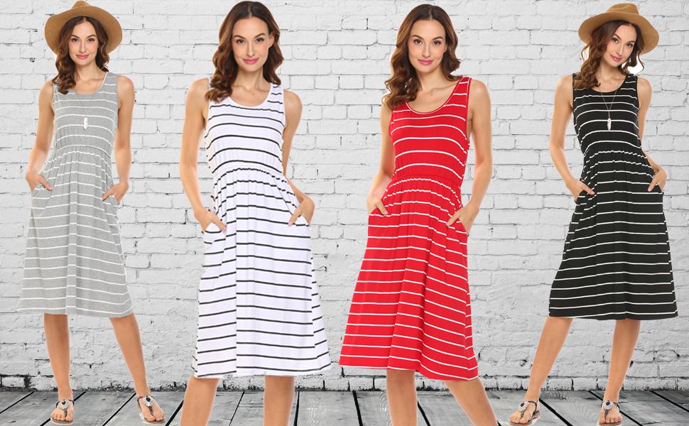 eee3b4d852a39 Women s Sleeveless Summer Striped Empire Waist Loose Midi Dress With Pockets