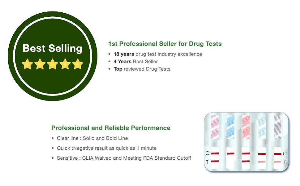 10 Pack Easy@Home 12 Panel Instant Drug Test Kits - Testing Marijuana  (THC),COC, OPI 2000,