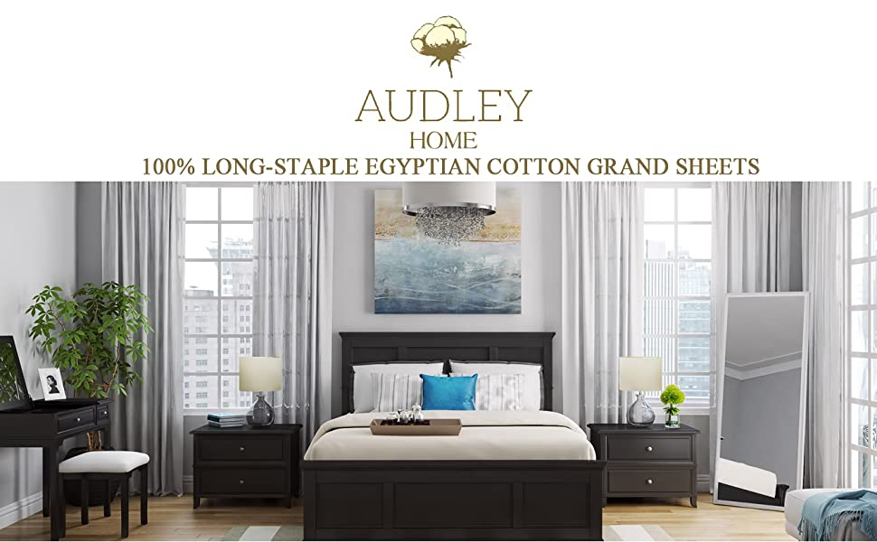 AUDLEY HOME Luxury 1000Thread Count 100/% Long Staple Egyptian Cotton 4-Pcs Bed Sheet Set Ultra Soft Breathable Easy to Fit Mattress Upto18/'/' Deep Pockets Marrow Stitch Hem,Easy to Fit Mattress Upto18 Deep Pockets Queen,Silver Queen