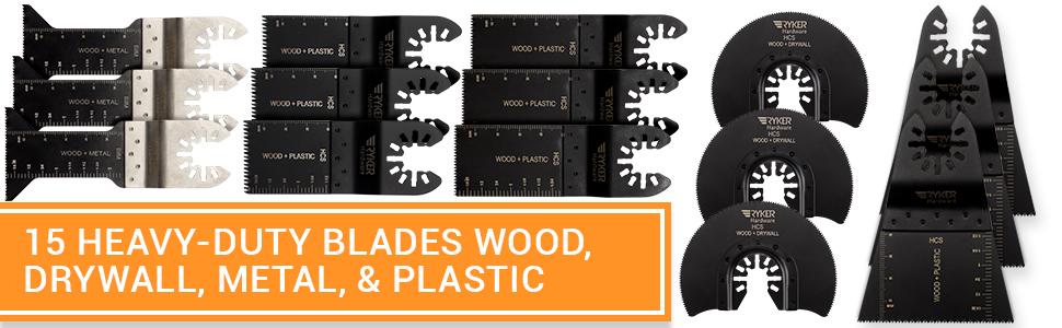 15 Wood/Metal Professional Oscillating Multi Tool Quick Release Saw Blades  for Fein Multimaster, Dremel Multi-Max, Dewalt, Craftsman, Ridgid, Makita,