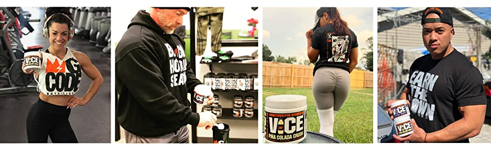 athletes holding, vice, preworkout, gcode, nutrition, clean energy,