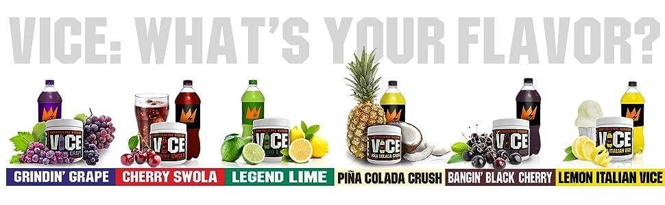 whats your flavor, vice, preworkout, gcode, nutrition, grape, cherry, black cherry, pina colada