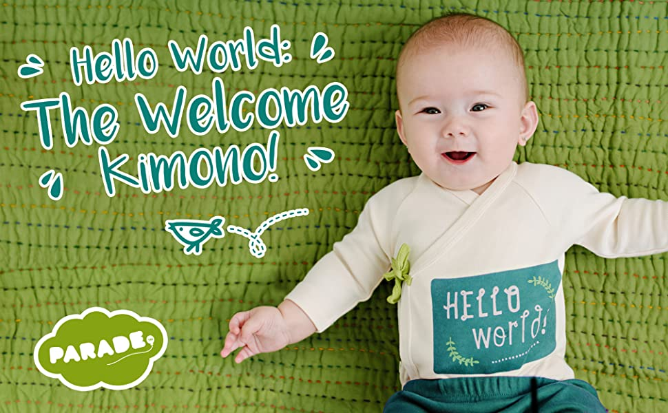 Amazon.com: Parade Organics Hello World Kimono Onesie: Clothing