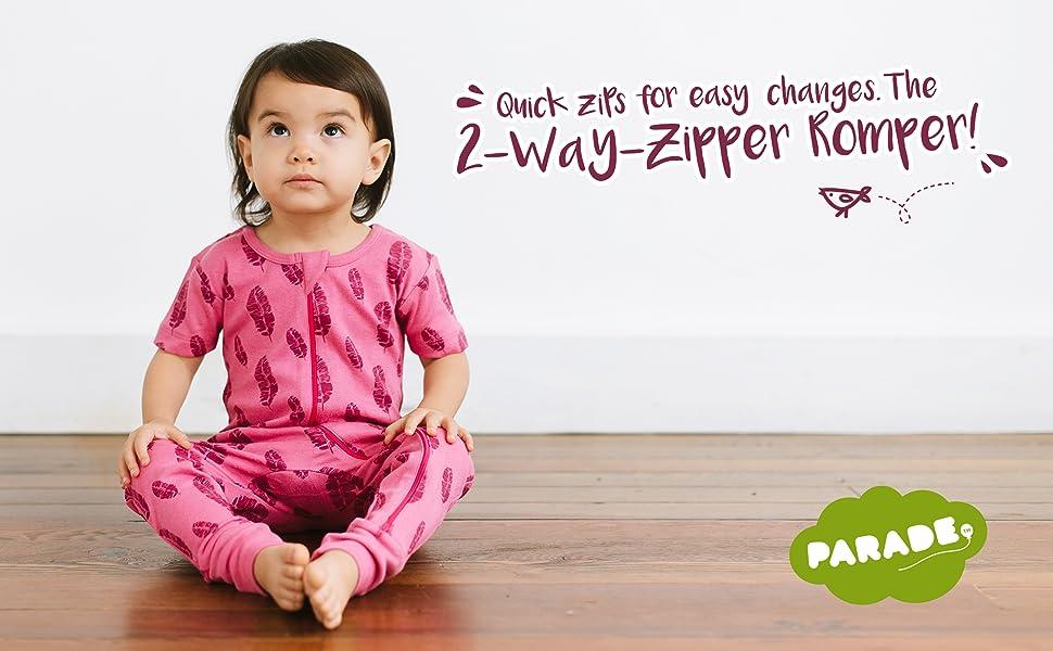 f4b332d41440 Amazon.com  Parade Organics Signature Print  2-Way  Zip Romper ...