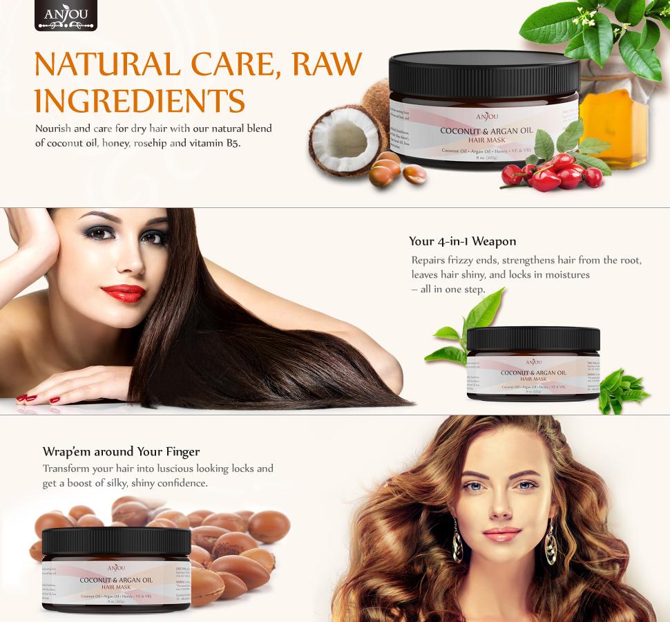 Amazon Com Anjou Coconut Oil Hair Mask 8 Oz After Shampoo Hair