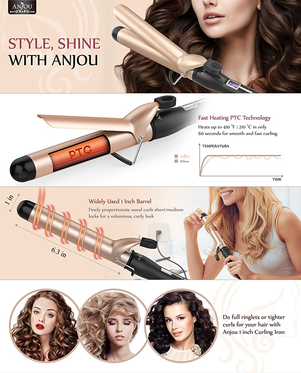 Amazon Com Anjou 1 Inch Curling Iron With Tourmaline Ceramic Coating Hair Curling Wand With Anti Scalding Insulated Tip 200 F 410 F Heat Resistant Glove Beauty