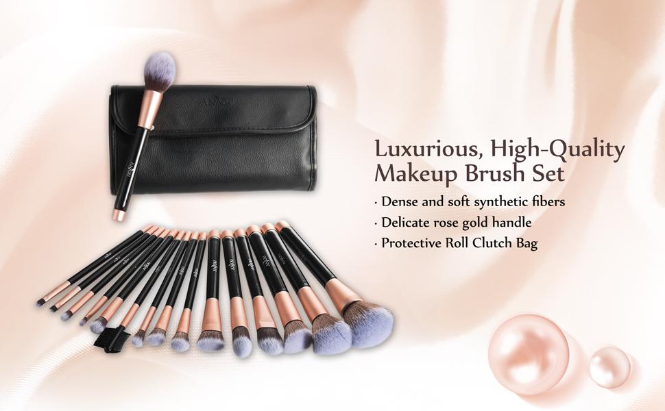 Amazon.com: Anjou Makeup Brush Set, 16pcs Premium Cosmetic Brushes ...