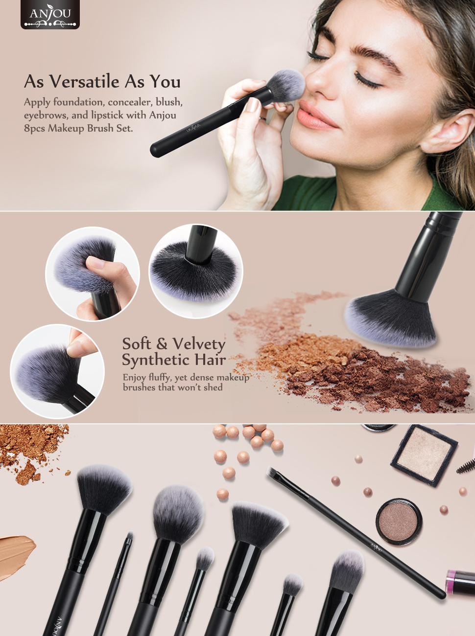 Professional 8pcs Faux Crystal Zircon Fiber Hair Makeup: Amazon.com: Makeup Brushes Set, Anjou 8 Pieces Synthetic