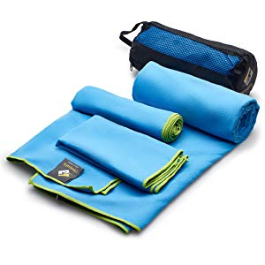 microfiber sports towel for gym camping hiking outdoors set of three