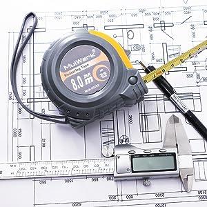 mulwark 26ft metric tape measure- dual side