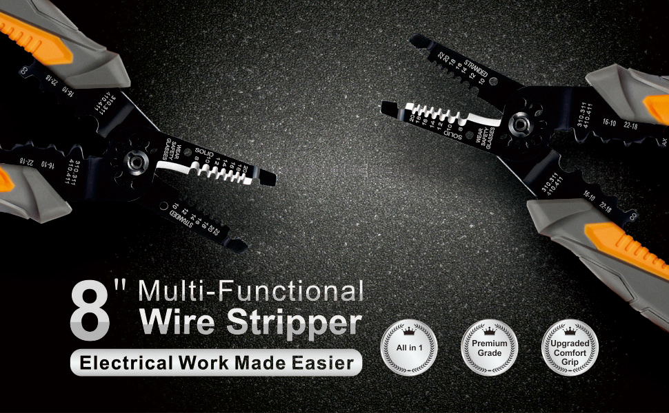 Unique electrical wire size gauge tool gift everything you need to mulwark 8 multi purpose electrical wire stripping tool snips keyboard keysfo Images