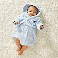 fluffy cuddly fleece baby dressing gown robe customizable baby shower its a boy unisex gifts bath