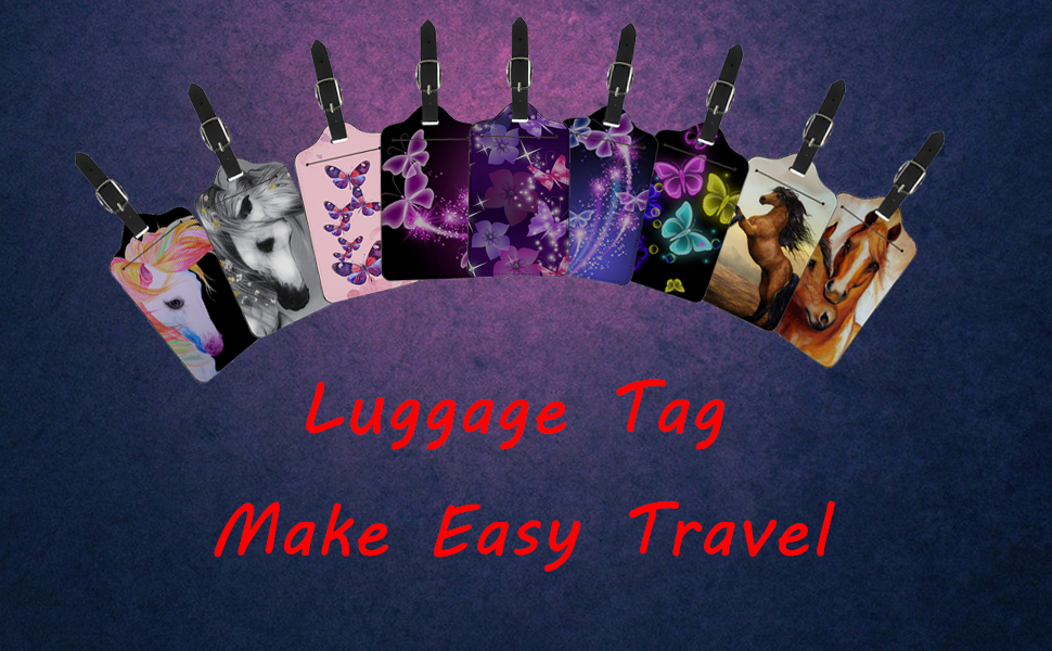 Funny Lazy Pug Leather Luggage Tags Suitcase Tag Travel Bag Labels With Privacy Cover For Men Women 2 Pack 4 Pack