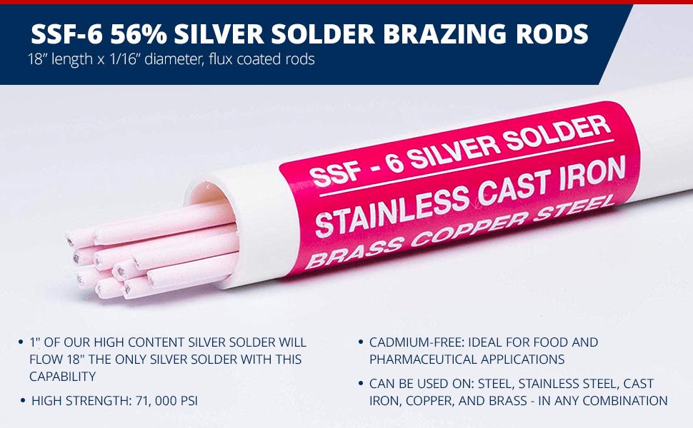 SSF-6 56% Silver Solder Brazing Rods, 18