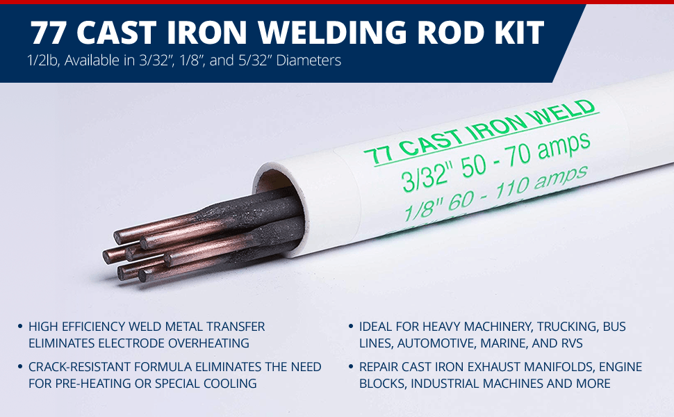 "Cast Iron Welding Electrode welding all Grade Iron 3//32/"" 1Ib Pack Made in USA 50"