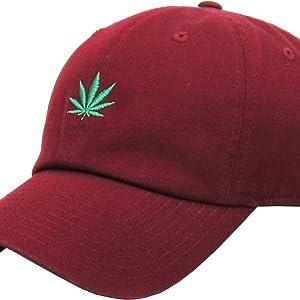 363250a6e37 Amazon.com  KBSV-064 BLK Marijuana Leaf Dad Hat Baseball Cap Polo ...