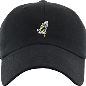 4aabb2bbd371b Amazon.com  KBSV-060 BLK Praying Hands Rosary Dad Hat Baseball Cap ...
