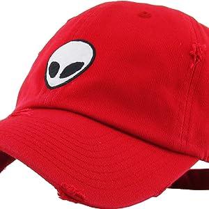 8b403e0e92d Amazon.com  KBSV-028 BLK Alien Dad Hat Baseball Cap Polo Style ...