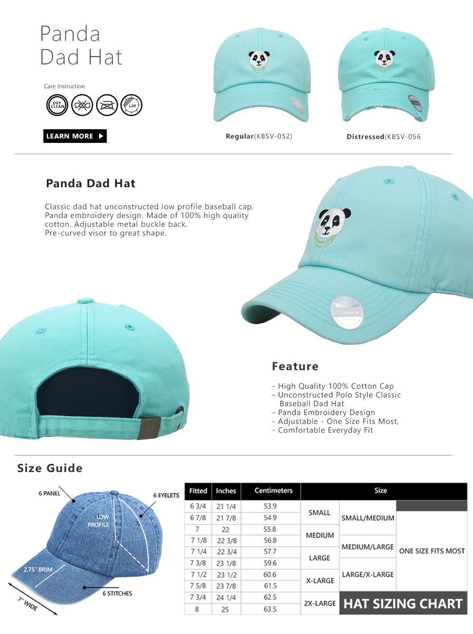 f2310316cc4 KBSV-056 BLK Panda Vintage Distressed Dad Hat Baseball Cap Polo ...